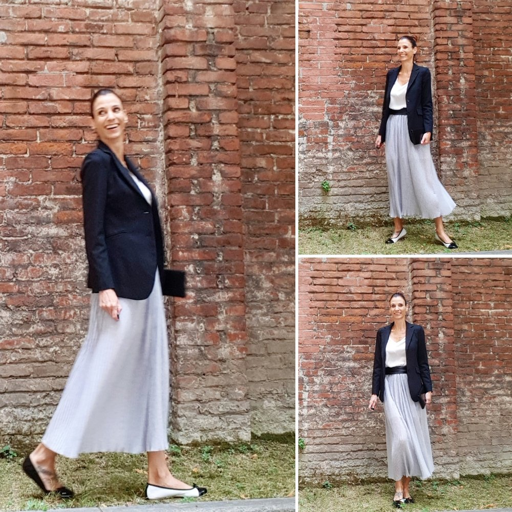 camicia: Naf Naf - gonna: Ki pretty -blazer: Virna Drò- ballerine: Mirtilla - pochette: vintage di mia nonna