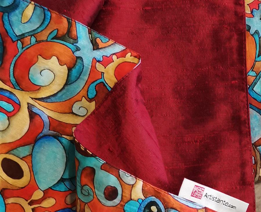 Opere -pittoriche- su- stole -e- accessori-dettaglio-tessuto